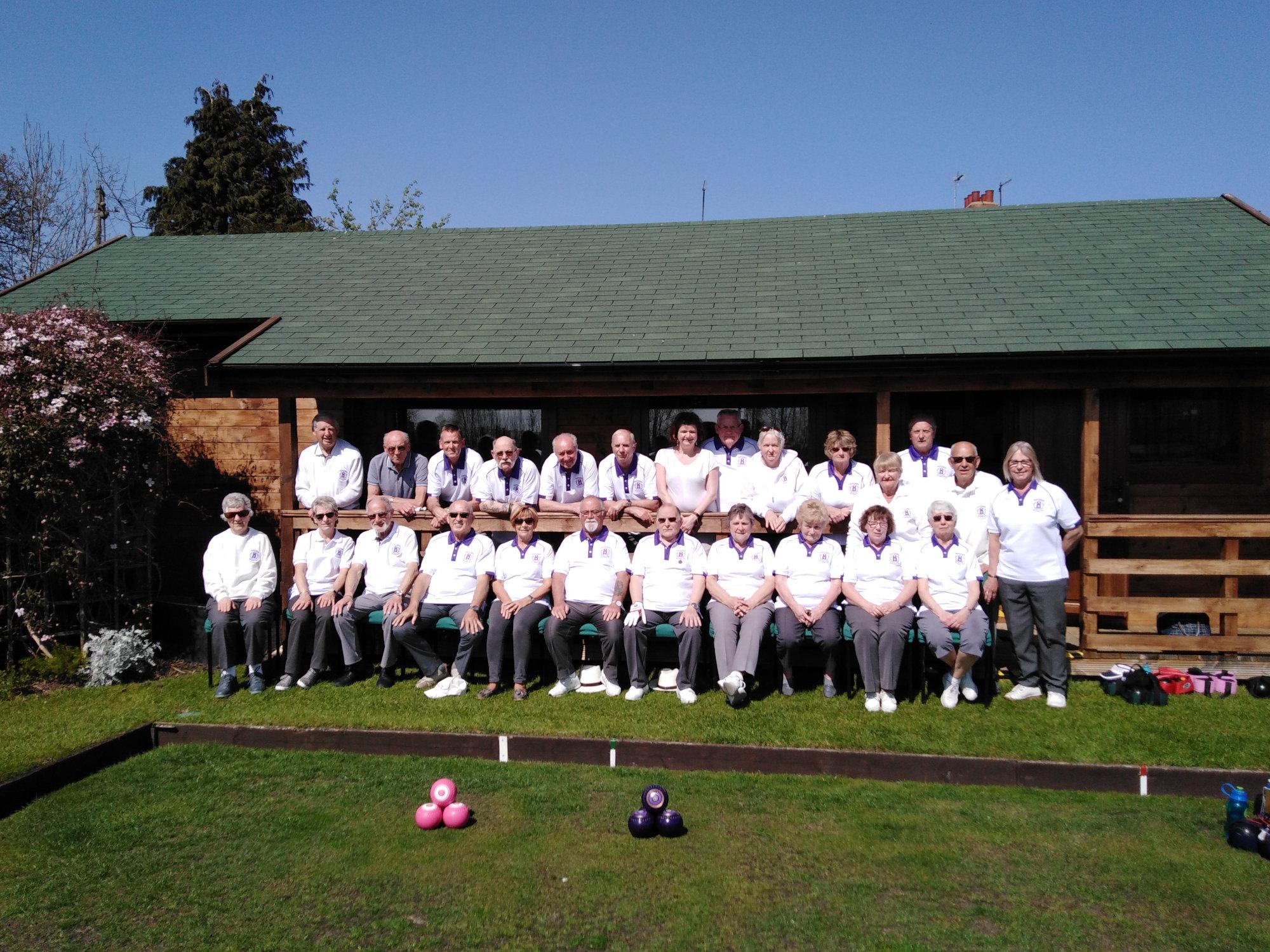 Beverley Bowling club members outside their Flemingate pavilion, showing new season's Teeshirts.